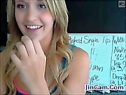 Blonde teen masturbates with toys for money on webcam