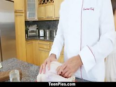 TeenPies - Tiny Teen Creampied by Chef on Thanskgiving