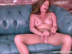 Big boobs Milf Holly Kiss rips open her nude pantyhose and fucks dildo toy to orgasm