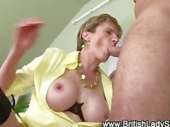 Lady Sonia in stockings gets cumshots