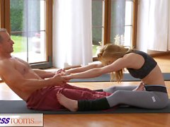 Hot slut has steamy fuck session with her yoga instructor