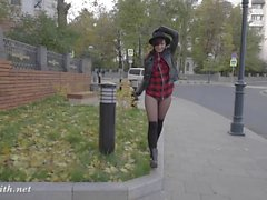 Jeny Smith pantyhose fire walking