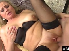 Girl in stockings gets her cunt plowed