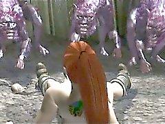 Geilen Redheadfrau Hentai Sirenen Muschi von Monster festgenagelt