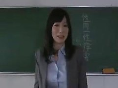 Big breasted teacher gets fucked hard by her students in th