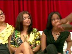 Three amateur girls watching a black CFNM guy jerk off