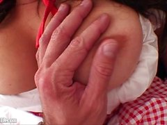 Red Riding Wood: Curvy Girlfriend fucked on couch. Toilet Suck & Swallow!