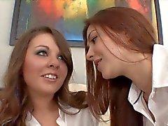 2 hot schoolgirls having breaktime fun with each other
