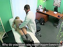 Small tittied blonde fucked by doctor in his office