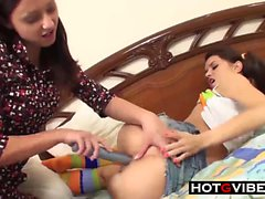 TEEN LESBIANS Toying each other to Orgasms