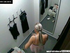 Voyeur Nice Blonde Fitting Lingerie