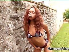 Ebony bitch gets her holes banged hard