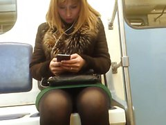 Chubby blonde in black stockings unwittingly reveals what's