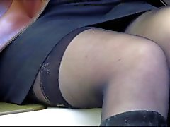 Public flashing stockings in a metro train