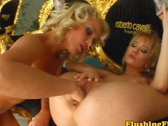 Fist loving lesbian blondes at home drip from the pussy