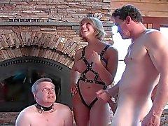 chastity sub licks bull cum
