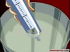 Swimsuit Hentai bondage saa perse injektiota peräruiskeen ja katselin hänen ystävänsä nai