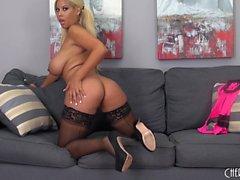Curvaceous blonde cougar Bridgette B feeds her desire for masturbation