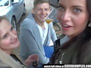 Amateur Blonde Has Threesome on Public