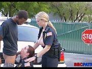 Polizei teilt einen schwarzen Hahn in Miami Straße