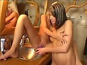 Ultra sexy lesbian honey getting anally dildoed doggy style