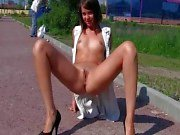 Sexy Lilu exposing all her shaved holes on public