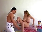 Blonde with giant natural tits fucked by the painter