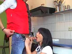 Hot Brunette Fucked In Kitchen