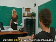 Student fucks his sexy blonde teacher with huge tits