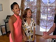 brunette ebony bitches hardcore fuck at the sex party