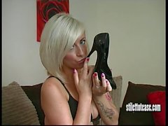 Sexy blonde stimulates your fetish with the clack of her high stiletto heels