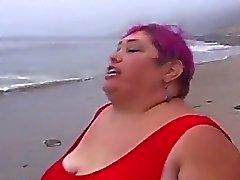 Super fat beach patrol babe greasy pussy pumping fun