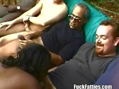 Fat Chocolate Slut In Interracial Gangbang