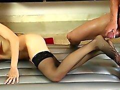 Sexy masseuse wam footjob