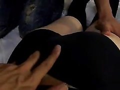 Asian floozy and her seven studs in a cinema group sex