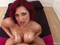 Libidnous and wacky redhead honey Dayna Vendetta receives fun with Erik Everhard menacing's large ramrod
