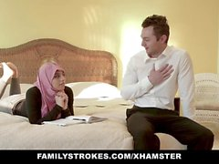 White hung tutor seduces his young and curvy Pakistani student