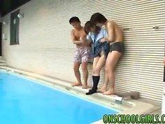 Leya in uniform in pool party