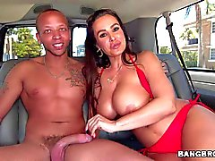 Lisa Ann gets licked in the car
