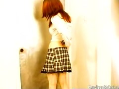 Redhead schoolgirl takes a huge cock