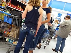 Cuteie in checkout line while in jeans