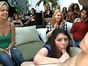 Hot girls watche their ally suck one-eyed monster at a party