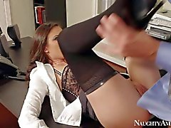 Casey Calvert gets her bald pussy pounded at the office
