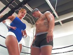 Busty blonde Shyla Stylez does some hardcore training