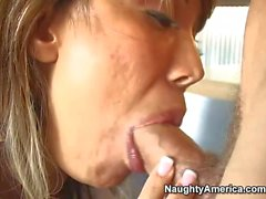 Nasty and wild blonde Ava gives a blowjob