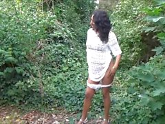 Flashing ebony milf Mels black public nudity and outdoor upskirts