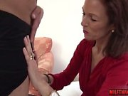 Brunette milf oral and cum on tits