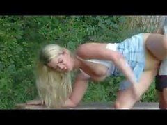 Blonde German girl nailed outdoor
