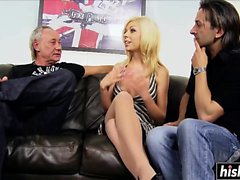 Older men have fun with a blonde