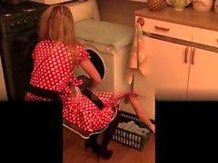 Tüylü kedi mutfak fırçalamak ve şişe aşırı ekleme